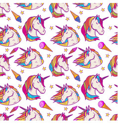 seamless pattern with unicorn heads stars ice vector image
