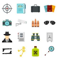 spy tools set flat icons vector image