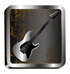 steel icon guitar engraving vector image