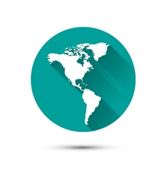 Earth globe white icon on green background with vector image