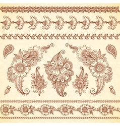 Indian mehndi tattoo style floral ornaments set vector image vector image