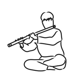 Indian musician playing flute vector image vector image