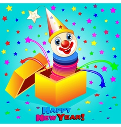merry clown jumps out vector image vector image