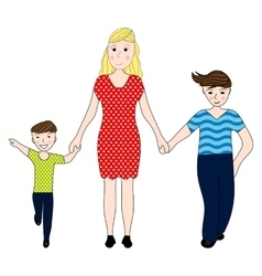 Mother holding the hand of his two sons vector