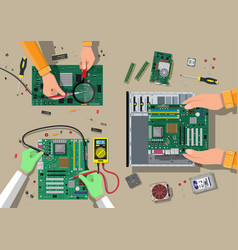 service recovery warranty fixing assembling pc vector image vector image