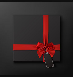 Blank black gift box with red ribbon and price vector image