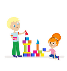 boy and girl build a high tower of colorful cubes vector image vector image