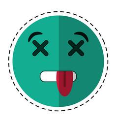 cartoon dead emoticon funny icon vector image