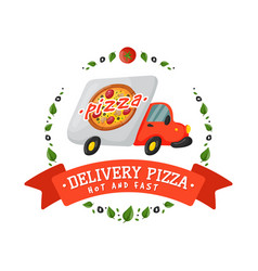 Delivery pizza car badge vector