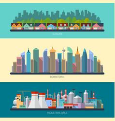 Set of flat design urban landscape vector image