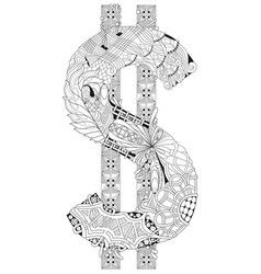 symbol of dollar zentangle decorative vector image vector image