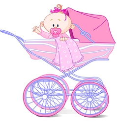 Baby girl in carriage vector image