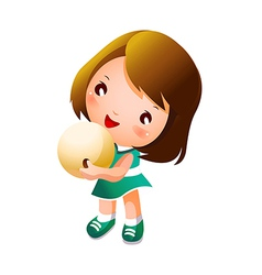Girl holding bowling ball vector