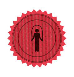pink circular seal with training in jumping rope vector image