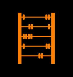 retro abacus sign orange icon on black background vector image