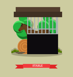 Stable in flat style vector