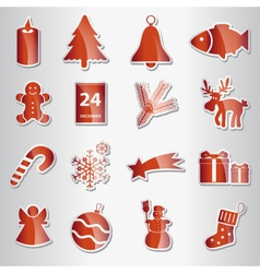 various christmas red shiny stickers collection vector image vector image
