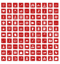 100 criminal offence icons set grunge red vector image vector image