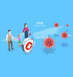 3d isometric concept coronavirus vector image