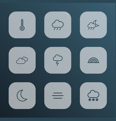 Air outline icons set collection of rain stormy vector