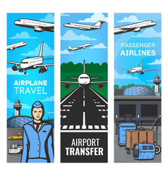 Air travel airline and airport service banners vector