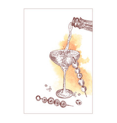 Alcoholic cocktail drink hand drawn sketch art on vector