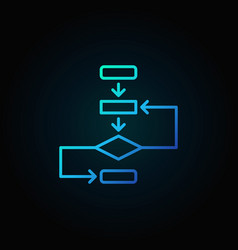 Algorithm outline blue icon on dark vector