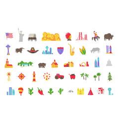 america set icons usa tourist attraction vector image