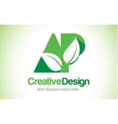 Ap green leaf letter design logo eco bio leaf vector