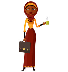 Arab business woman with a cup of tea and teapot vector
