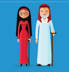 Arab old man and arab old woman vector