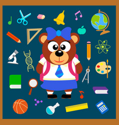 Back to school seamless background with bear vector