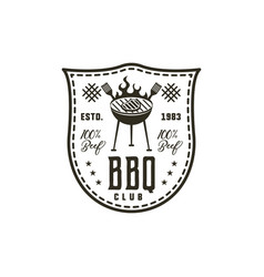 Bbq club label in monochrome style invitation to vector