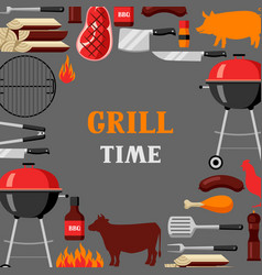 Bbq time background with grill objects and icons vector