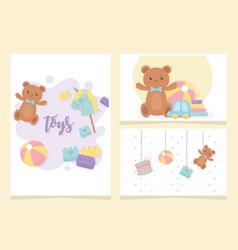 bear ball drum horse stick hang cartoon kids toys vector image