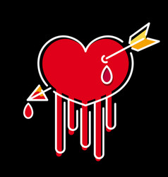 beautiful hand drawn heart with arrow and blood vector image