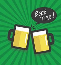Beer time flat design vector