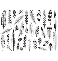 Black and white bird feather silhouettes set vector