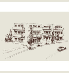 blocks flats city sketch urban landscape vector image