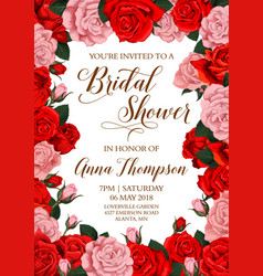 Bridal shower invitation card with flower frame vector