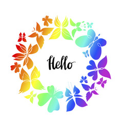 Butterfly frame hello lettering 2 vector