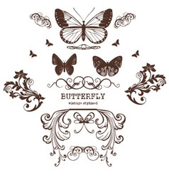 Butterfly graphic print vintage retro vector