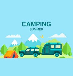 camping in summer advertising flat design card vector image