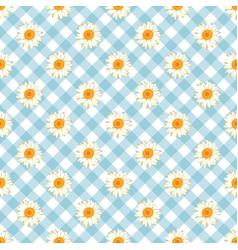 Chamomile seamless pattern daisies on blue vector