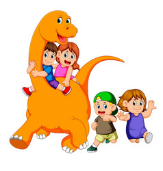 Children get into the big apatosaurus body vector