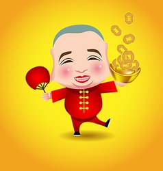 Chinese New Year man with smile mask on yellow vector