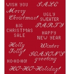 Christmas knitted phrase 1 vector