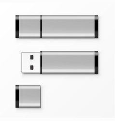 chrome usb flash drive template for advertising vector image