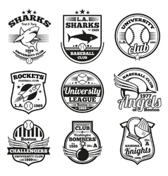 College athletic labels logos badges and vector