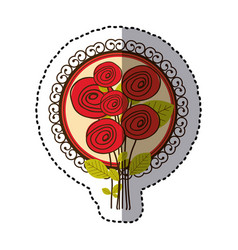 color oval roses and decorative emblem icon vector image